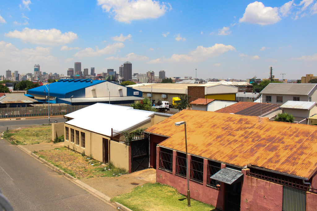 A view of Fourteenth Street from the second floor of the Fietas Museum. The museum is one of the few original building still standing and is a homage to Fietas before the Group Areas Act. In the distance is the Johannesburg skyline. Photo: Samantha Camara