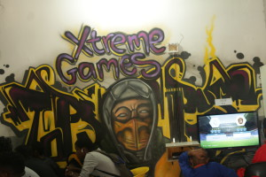 Xtreme Fun: One of the walls of Malelo Abdool's game shop. The shop is called 'Xtreme Games' Photo: Masego Panyane