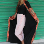 Layla Sallie models high fashion Islamic wear, such as the beautiful peach colored leggings on the streets of Fordsburg. Photo: Valerie Robinson.