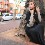 Layla Sallie modles a trendy abaya from the brand House of Yushrah, on the streets of Fordsburg. Photo: Valerie Robinson.